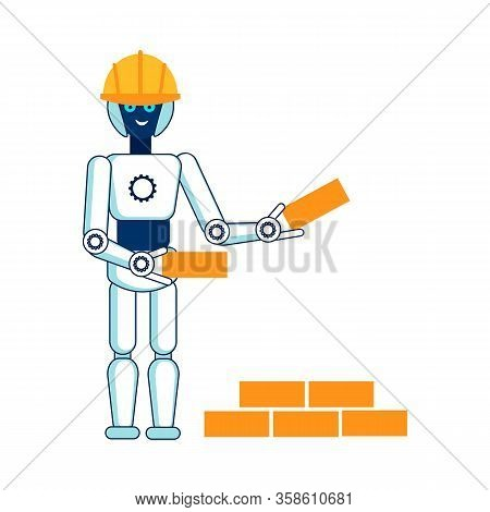 Robot Helps In Building House Flat Illustration. Cyber Bricklayer Hard Hat, Safety Helmet Isolated C