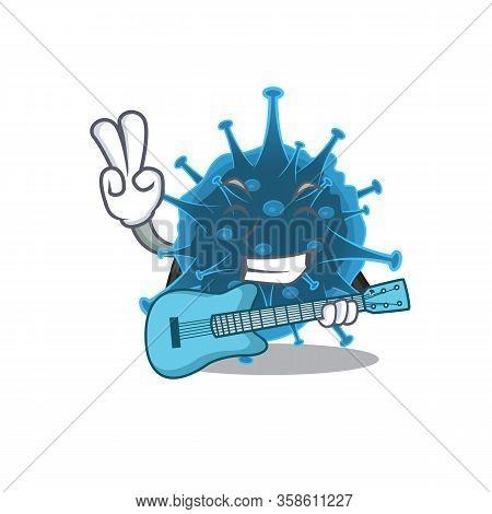 Supper Cool Moordecovirus Cartoon Playing A Guitar