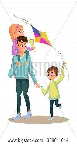 Cartoon Father Son Daughter Walk Vector Illustration. Man Carry Little Girl With Icecream Vector Ill