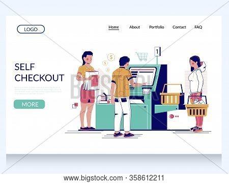 Self Checkout Vector Website Landing Page Design Template