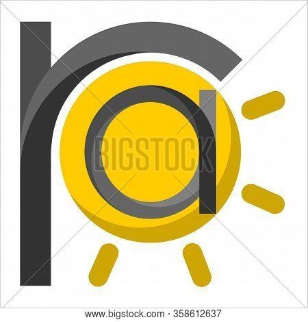 Ra Initial Logo. Gradient Black With Yellow Sun. Ra The God Of The Sun Of Egyptian Mythology. Initia