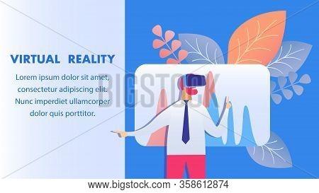 Virtual Reality Technology Banner Vector Template. Entrepreneur Wearing Vr Headset Cartoon Character