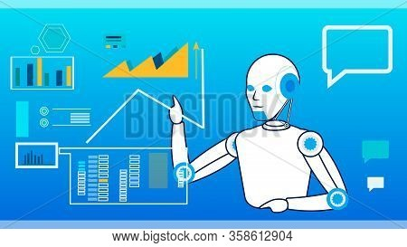 Ai Self-management System Flat Vector Illustration. Cartoon Cyborg Managing Data On Interactive Boar