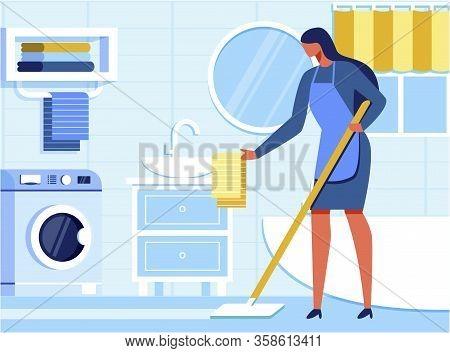 Woman Housekeeper Cleaning Bathroom. Housewife In Apron Moping Floor, Straightening Towel On Sink. F