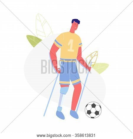 Active Amputee Man Training With Soccer Ball. Athlete With Leg Prosthesis Playing Football, Disabled