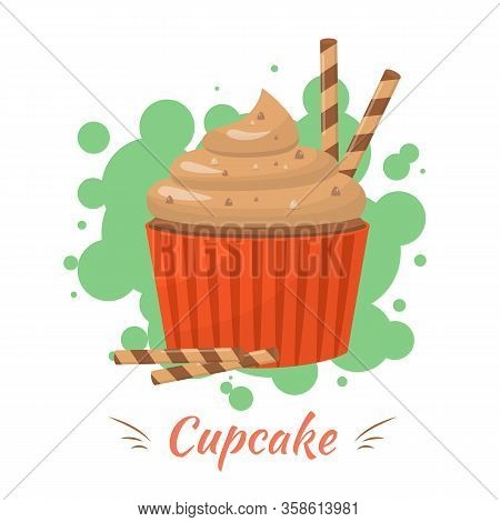Cupcake With Caramel Cream Topping And Crispy Wafer Rolls Advertisement. Lettering Presentation Post