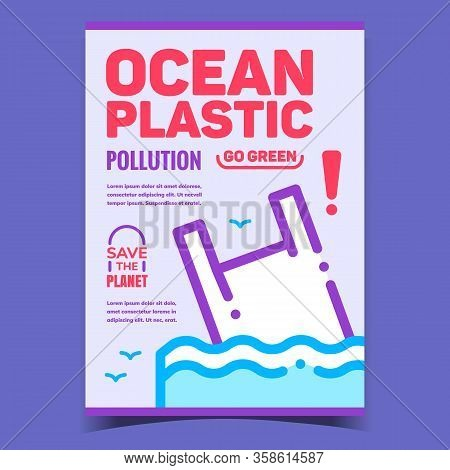 Ocean Plastic Pollution Creative Banner Vector. Discarded Carrier Bag Sea Water Pollution, Save Plan