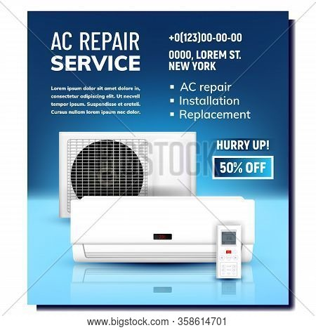 Air Conditioner Repair Service Promo Banner Vector. Ac System Repair, Installation And Replacement.