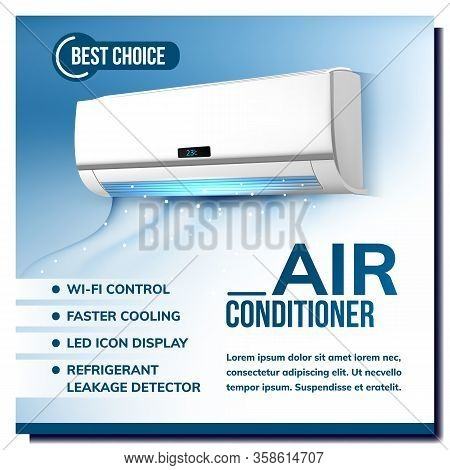 Air Conditioner System Advertising Poster Vector. Conditioner With Wi-fi Control, Faster Cooling, Le