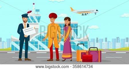 Asian Family At Airport Flat Color Illustration. Man In Turban And Woman In Sari Dress Cartoon Chara