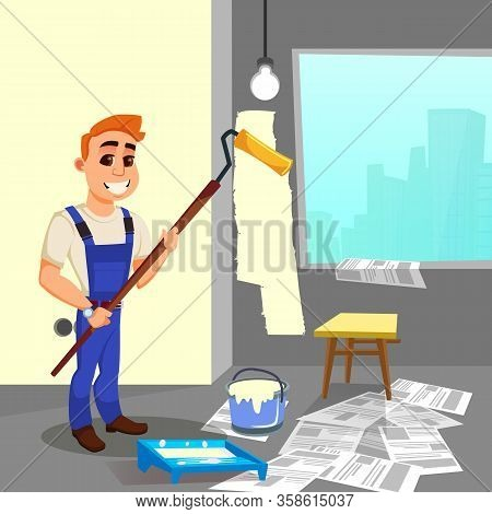 Positive Redhead House Painter, Wearing Working Overalls, With Big White Toothy Smile, With Roller I