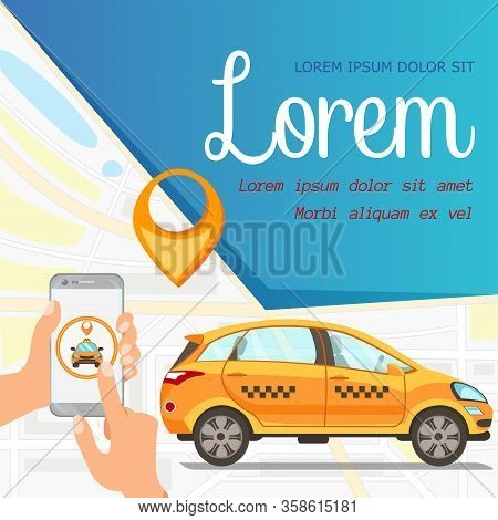 Online Taxi Service App Vector Flat Illustration. Hands Holding Smartphone With Cab Pinpoint, Car Ri