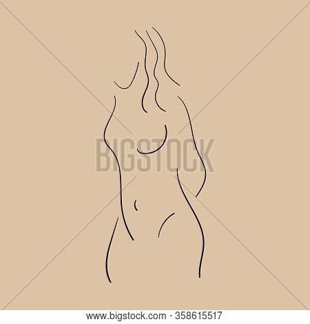 Outline Of Naked Woman Is Drawn By Hand. Sketch. Isolated Vector Illustration.