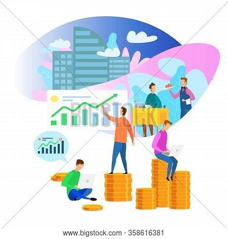 Business Center Building Restaurant Waiter Client Profit Diagram Growth Vector Illustration. Commerc