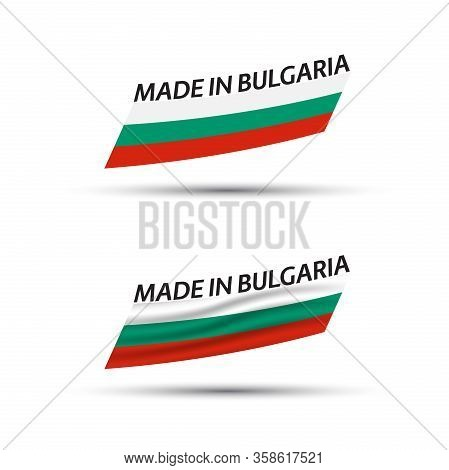 Two Modern Colored Vector Flags With Bulgarian Tricolor Isolated On White Background, Flags Of Bulga
