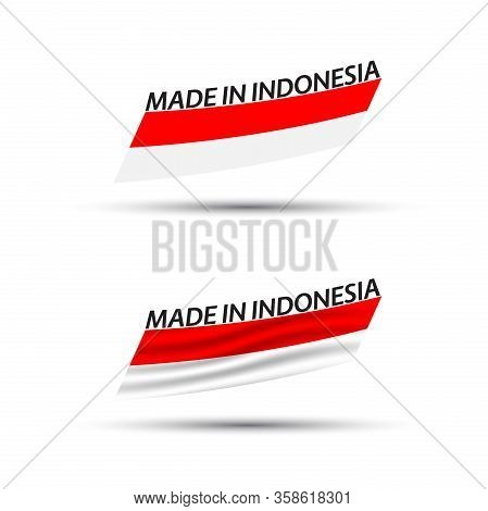 Two Modern Colored Vector Indonesian Flags Isolated On White Background, Indonesian Flag, Indonesian