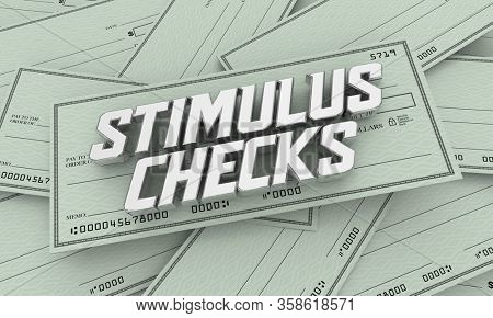 Stimulus Checks Payments Help Assistance Money Crisis 3d Illustration