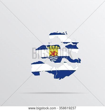 Vector Map Of Zeeland Province, Netherlands Combined With Zeeland Province, Netherlands Flag.