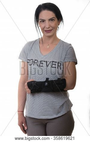 Injuried Woman With Hand Orthosis Isolated On White Background