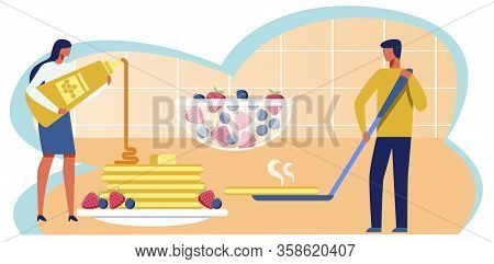 Man And Woman Cooking Huge Pancakes Metaphor Flat Cartoon. Female Pouring Jam And Male Character Hol