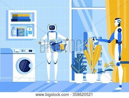 Household Chore Automatization Cartoon Flat Vector Illustration. Robot Washing Clothing. Holding Bow