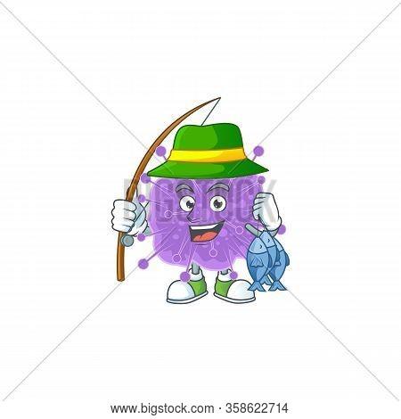 Cartoon Character Of Funny Fishing Coronavirus Influenza