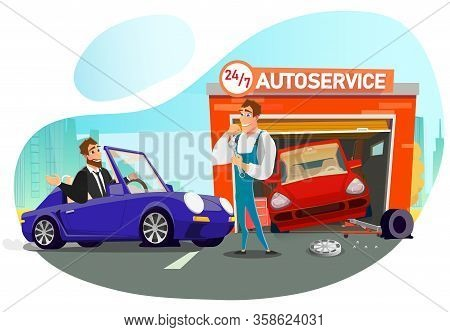 Queue To Cartoon Round-the-clock Autoservice For Tire Replace. Businessman Visiting Garage In Need O
