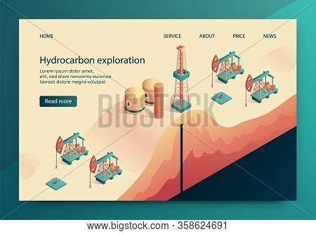 Illustration Is Written Hydrocarbon Exploration. Exploration Oil Fields, Assessment Industrial Value