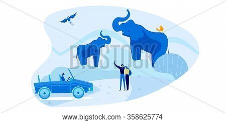 Romantic Car Safari Tour For Two Loving People. Cartoon Couple In Love Taking Selfie With Elephant F