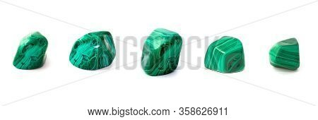 Collection Of Malachites On A White Background. Full Size.