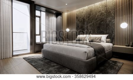 Interior Of Modern Luxury Bedroom With Double Bed And Marble Wall, 3d Rendering