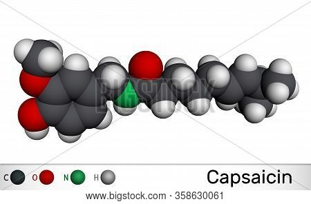 Capsaicin, Alkaloid, C18h27no3 Molecule. It Is Chili Pepper Extract With Non-narcotic Analgesic Prop