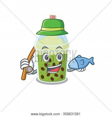 A Picture Of Funny Fishing Matcha Bubble Tea Design
