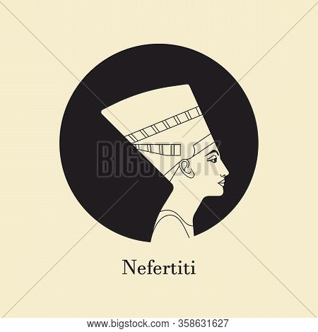 A Vector Illustration Of The Queen Of Egypt Nefertiti Profile Isolated On A Background. History Of A