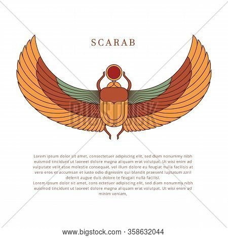 Banner With Beetle Is A Rapid Symbol Of Ancient Egypt And A Place For Text. Colorful Illustration Of