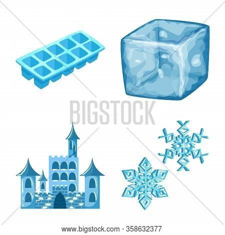 Isolated Object Of Frost And Water Logo. Set Of Frost And Wet Vector Icon For Stock.