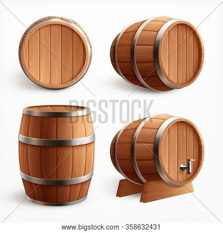 Wooden Barrels Realistic Set With Four Isolated Images Of Oak Casks With Timber Body And Faucet Vect