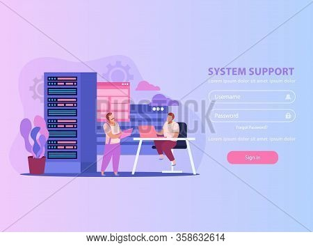 Flat Background With Two System Administrators Their Work Place And Form For Username And Password V