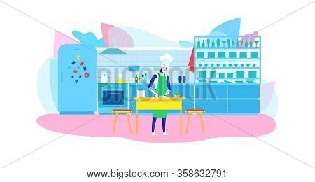 Domestic Personal Robot Helper For Cooking Flat Banner Vector Illustration Humanoid Housewife In Apr