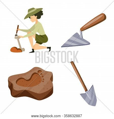 Vector Illustration Of Archaeology And Historical Icon. Collection Of Archaeology And Excavation Sto