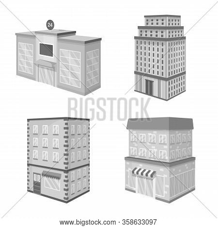 Isolated Object Of Realty And Modern Sign. Collection Of Realty And Building Stock Symbol For Web.