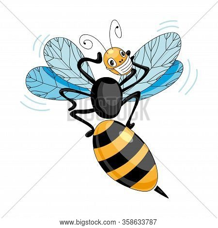 The Wasp In A Mask Vector. The Wasp Is Panicking. The Concept Of A Pandemic