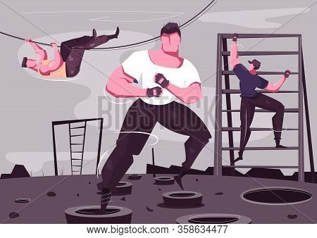 Military Training Flat Composition With Brutal Sporty Male Characters Climbing And Wrestling Outdoor
