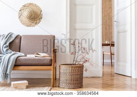 Stylish And Cozy Interior Of Living Room And Dining Room With Design Brown Sofa, Wooden Table, Chair
