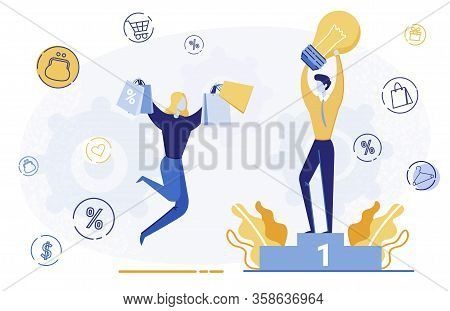 Creative Customer Attraction Vector Illustration. Man Offering Best Gift Price Cartoon Character. Ha