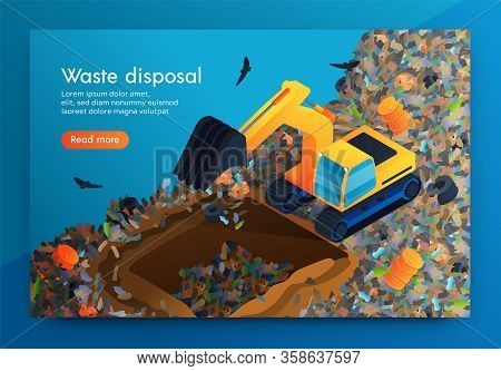 Flat Landing Waste Disposal At Huge Garbage Dump. Volunteer On Bulldozer Cleans Garbage Under Ground