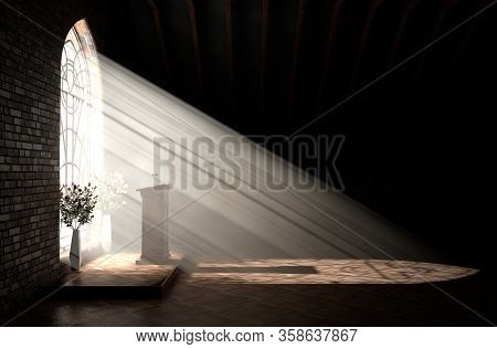 A Dark Church Interior Lit By Suns Rays Penetrating Through A Glass Window In The Pattern Of A Cruci
