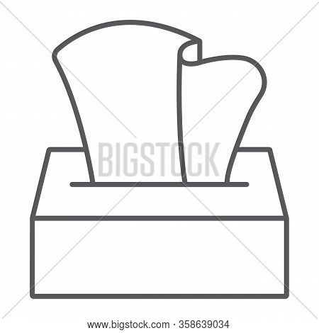 Tissue Napkin Box Thin Line Icon, Wash And Hygiene, Hand Tissues Sign, Vector Graphics, A Linear Pat