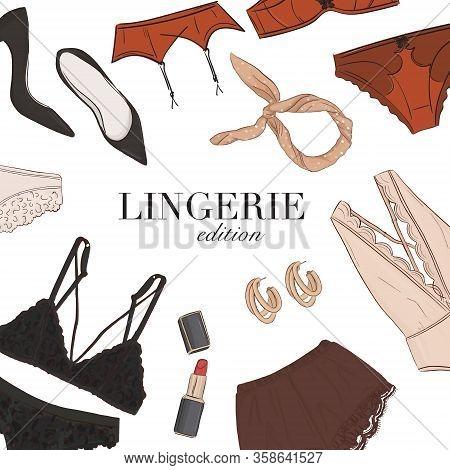 Black Lingerie Underwear, Bra Panties Set Hand-drawn Illustration Template: Sleepwear, Jewerly Women
