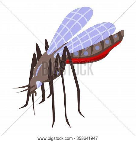 Zika Virus Mosquito Icon. Isometric Of Zika Virus Mosquito Vector Icon For Web Design Isolated On Wh